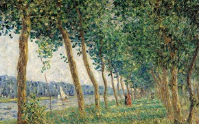 Picture trees, landscape, river, boat, picture, sail, alley, Francis Picabia, Francis Picabia, Bank Luena