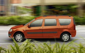 Picture road, grass, orange, the view from the side, Lada Largus, orange metallic