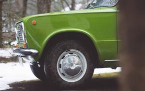 Picture retro, wheel, green, bus, Lada, VAZ-2101
