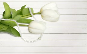 Picture bouquet, tulips, beads, decoration, white, Zhemchug