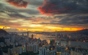 Picture the sky, clouds, sunset, home, architecture, cityscape, Hong Kong