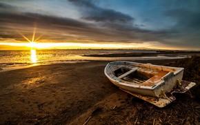 Wallpaper boat, shore, morning, sea