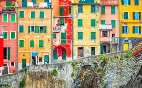 Picture rocks, coast, Villa, Italy, houses, Riomaggiore, travel