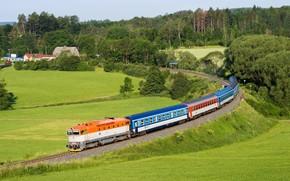Picture field, forest, train, cars, Czech Republic, railroad, railroads