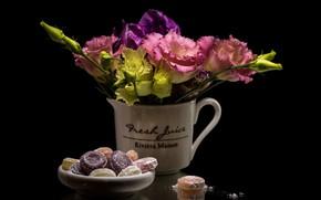 Wallpaper Eustoma, Lisianthus, floral komposizija, Lisianthus, still life, candy, bouquet, Eustoma, flowers