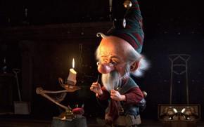 Wallpaper little christmas elf, New year, holiday, art, work, cristian ramirez, elf