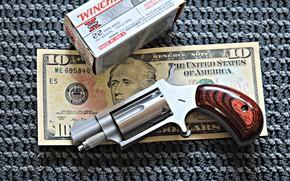 Picture gun, box, dollar