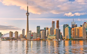 Picture the sky, clouds, lake, coast, building, tower, home, skyscrapers, Canada, Toronto