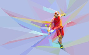 Wallpaper the ball, the game, tennis, blow, low poly, racket, tennis player