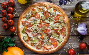Picture cheese, tomatoes, vegetables, pizza