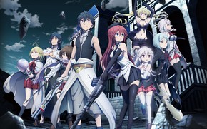 Picture girls, guy, characters, Trinity Seven