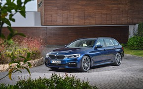 Picture grass, lawn, vegetation, the building, pavers, BMW, Parking, universal, xDrive, Touring, 530d, 5, dark blue, …