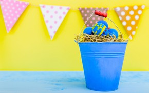 Picture holiday, eggs, Easter, socket, bucket, straw, garland, flags, Easter, eggs