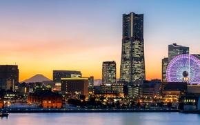 Picture sunset, lights, shore, home, the evening, Japan, panorama, Bay, Ferris wheel, Yokohama