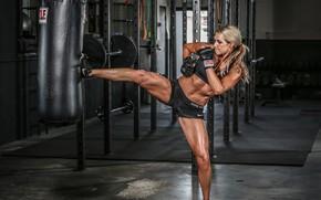 Picture boxing, female, training, kick