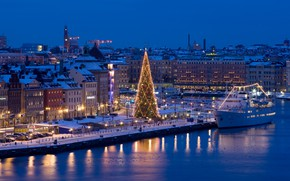 Wallpaper night, the city, river, holiday, ship, new year, home, Christmas, pier, tree, Stockholm, Sweden, garland, ...