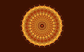 Wallpaper round, light, Mandala, the dark background