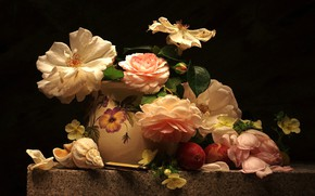 Picture roses, shell, apricot, composition