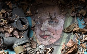Picture leaves, background, gas mask