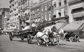 Picture retro, street, home, horse, USA, car, three, 1914-the year