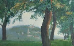Picture grass, trees, Aibek Begalin, One thousand nine hundred eighty six, Evening in Gorokhovets, boom. tempera