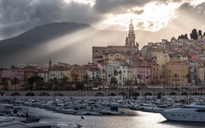 Picture clouds, landscape, mountains, clouds, river, palm trees, France, home, yachts, boats, boats, the rays of …