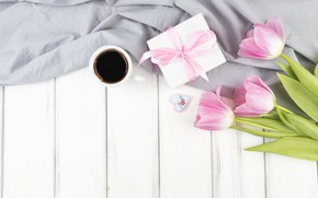 Wallpaper holiday, gift, Love, coffee, bouquet, tulips, box, with, flowers, present, gift, coffee, Mothers day