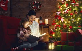 Picture joy, mood, holiday, tree, the evening, girl, lantern, gifts, New year, book, decoration, garland, mom, …