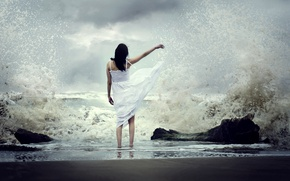 Picture sea, wave, girl, squirt, mood, dress