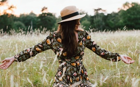Picture summer, girl, pose, hat, dress