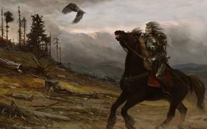 Wallpaper Koschei The Immortal, villain, Yuriy Mazurkin, mountains, bird, rider