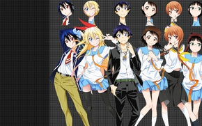 Picture anime, art, characters, Nisekoi, Feigned love