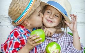 Wallpaper boy, kiss, apples, joy, children, girl, hat