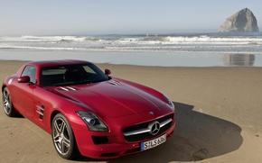 Picture sea, shore, Mercedes-Benz, SLS, Mercedes-Benz SLS AMG