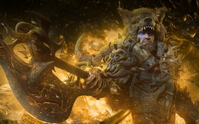Picture fire, bear, the demon, warrior, male, barbarian, raw