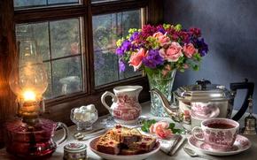 Wallpaper pie, still life, lamp, rain, roses, sugar, bouquet, window, tea