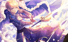 Picture girl, the saber, Fate stay night, Fate / Stay Night