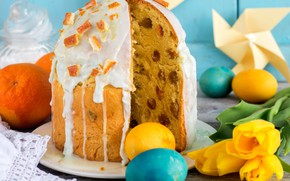 Picture Easter, tulips, cake, eggs, candied