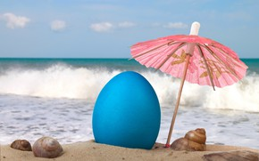 Wallpaper painted egg, clouds, horizon, the sky, mood, sea, sand, shell, beach, resort, Easter picture, sunlight, ...