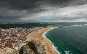 Picture Sea, The city, Bird, Panorama, Promenade, Portugal, Landscape, Sky, Portugal, Bird, Sea, Panorama, Town, Cloudy ...