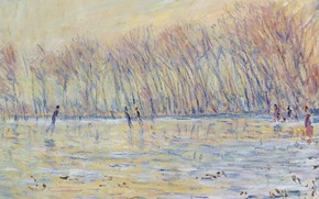 Wallpaper Claude Monet, picture, The skaters at Giverny, Claude Monet, landscape