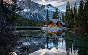 Wallpaper Yoho National Park, forest, Canada, lake, house, Emerald Lake, Canada, Canadian Rocky Mountains, Lake Emerald, ...