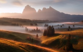 Wallpaper morning, fog, light, Germany, the Alps