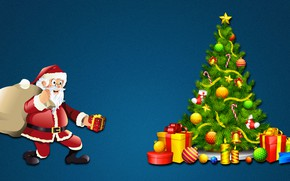 Picture Minimalism, New Year, Christmas, Background, Tree, Holiday, Santa Claus, Mood, Tree, Gifts