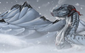 Picture cold, winter, mountains, in the snow, blood, wounded, white dragon