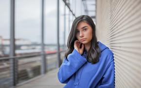 Picture look, girl, pose, portrait, makeup, brunette, hairstyle, blue, bokeh, sweatshirt