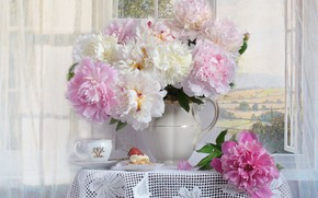 Picture bouquet, window, Cup, cake, peonies