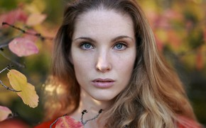 Picture autumn, look, leaves, girl, branches, face, portrait, makeup, hairstyle, cute, redhead, bokeh, closeup