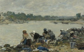 Picture women, landscape, river, picture, Eugene Boudin, Eugene Boudin, Laundresses on the Banks of the Touques