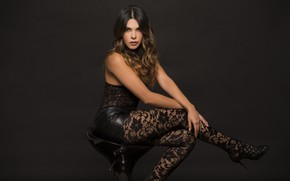 Picture face, style, model, hair, chair, legs, beauty, sitting, Lina Rivera